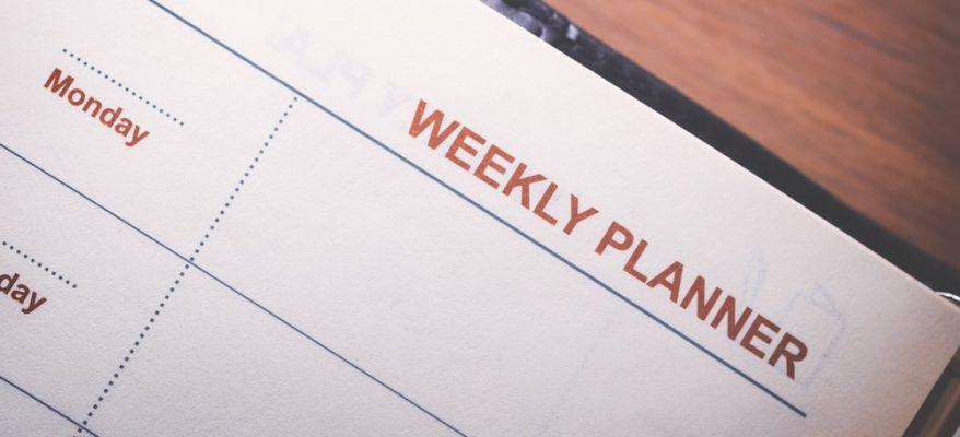 esempio di agenda settimanale